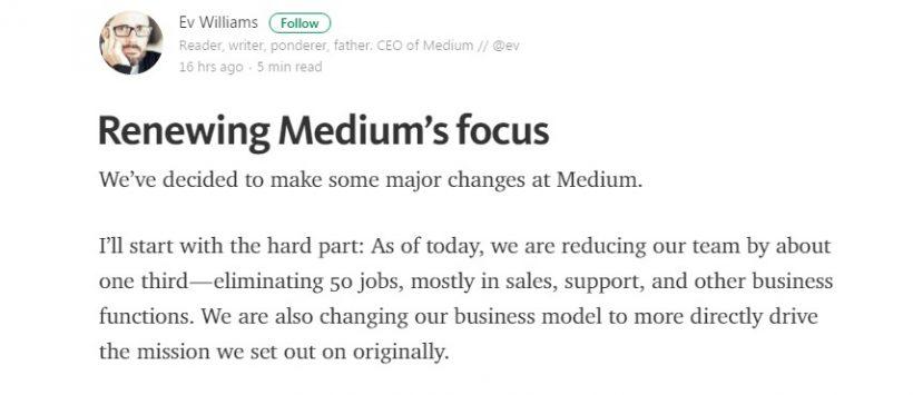 Medium сократил треть персонала и меняет бизнес-модель